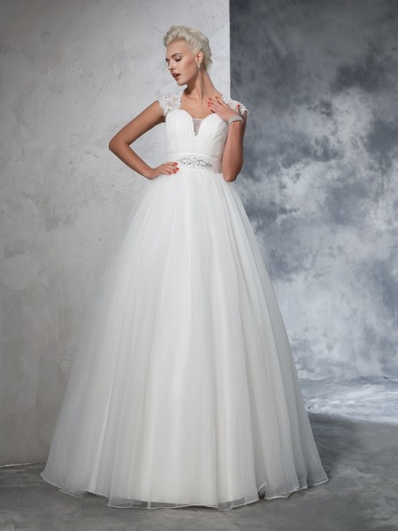 De Baile Coração Drapeado Sem Mangas Longa Tule Vestidos de Noiva
