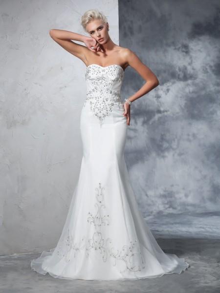 Trompete/Sereia Coração Missangas Sem Mangas Longa Cetim Vestidos de Noiva