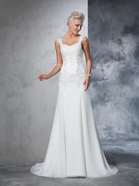 Princesa/Formato A Alças Missangas Sem Mangas Longa Chiffon Vestidos de Noiva
