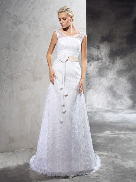Bainha/Coluna Sheer Neck Flores Feitas à Mão Sem Mangas Longa Cetim Vestidos de Noiva