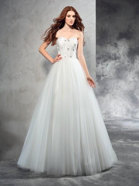 Princesa/Formato A Coração Missangas Sem Mangas Longa Malha Vestidos de Noiva