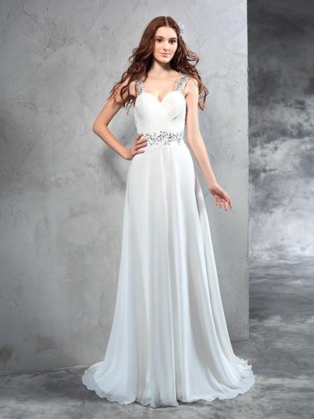 Princesa/Formato A Coração Plissada Sem Mangas Longa Chiffon Vestidos de Noiva