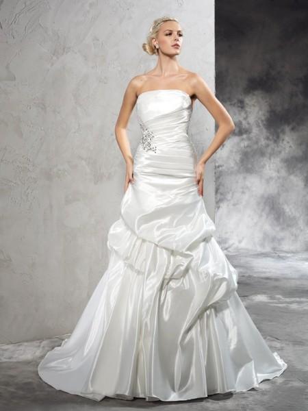 Bainha/Coluna Sem Alça Plissada Sem Mangas Longa Cetim Vestidos de Noiva