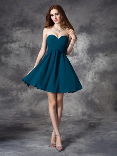 Princesa/Formato A Coração Folhos Sem Mangas Curtos Chiffon Vestidos
