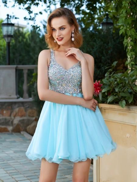 Princesa/Formato A Sem Mangas Imitação de Diamante Alças Curto/Mini Chiffon Vestidos