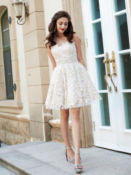 Princesa/Formato A Coração Sem Mangas Imitação de Diamante Curto/Mini Renda Vestidos
