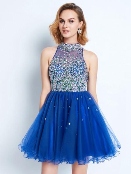 Princesa/Formato A Com gola alta Folhos Sem Mangas Curto/Mini Malha Vestidos