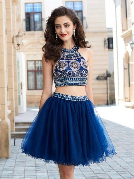 Princesa/Formato A Decote Vermelhoondo Sem Mangas Missangas Curto/Mini Malha Vestidos