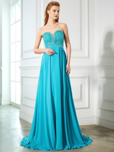 a7b8f609a4 Princesa Formato A Coração Missangas Sem Mangas Chiffon Com cauda Arrastar  Vestidos