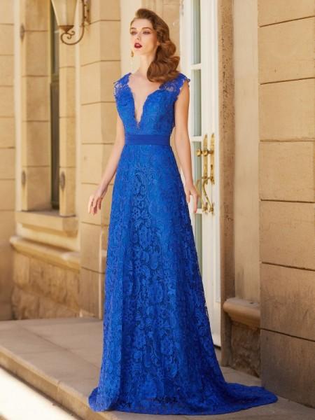 Princesa/Formato A Decote em V Sem Mangas Com cauda/Arrastar Laço Renda Vestidos