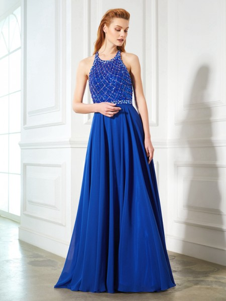 Princesa/Formato A Decote Vermelhoondo Sem Mangas Missangas Chiffon Com cauda/Arrastar Vestidos