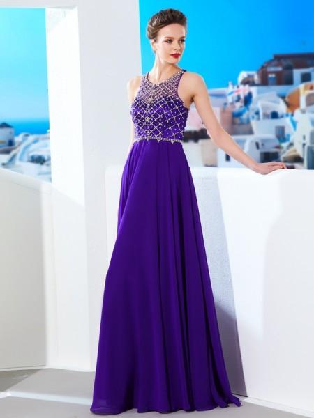 Princesa/Formato A Sem Mangas Chiffon Decote e costas em U Cristal Até ao chão Vestidos