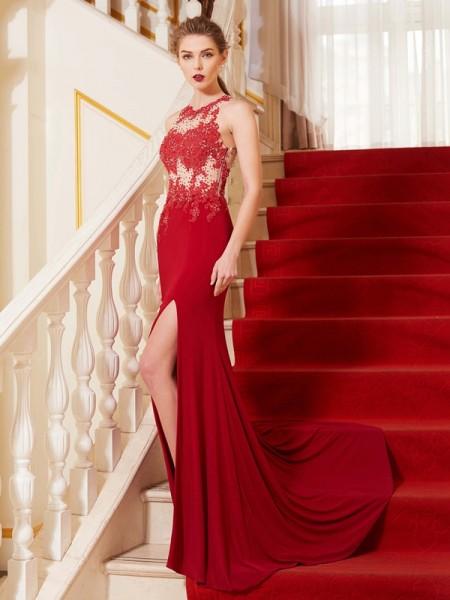 Bainha/Coluna Decote Vermelhoondo Sem Mangas Appliques Com cauda/Arrastar Spandex Vestidos