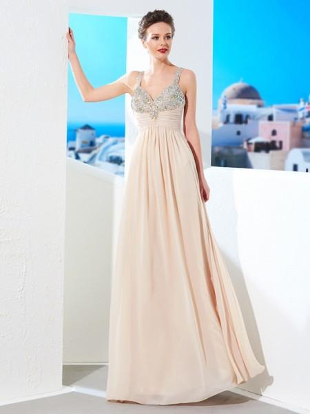 Princesa/Formato A Alças Finas Missangas Até ao chão Chiffon Vestidos