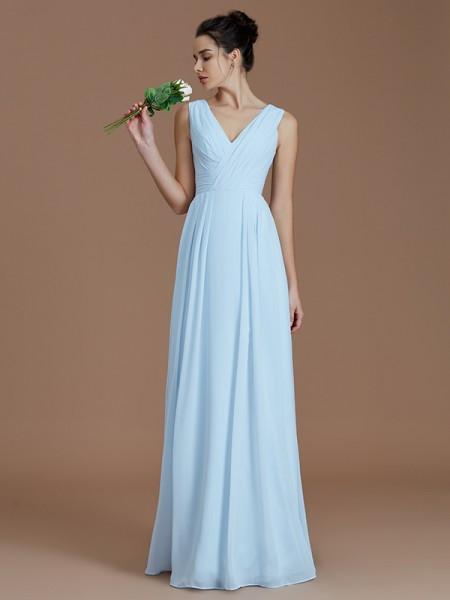 84d6a67c38 Princesa Formato A Decote em V Drapeado Até ao chão Chiffon Vestidos de  Madrinhas