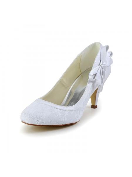 Mulheres Amazing Cetim Dedo do pé fechado Cone Heel Branco Casamento Sapatos com Laço