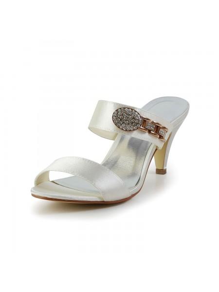 Mulheres Attractive Cetim Peep Toe Cone Heel com Imitação de Diamante Marfim Sandal Sapatos