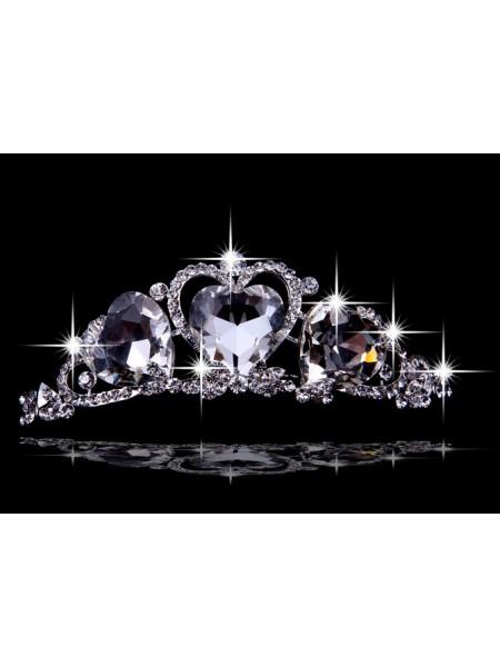 Bonita Liga com Czech Imitação de Diamantes Hearts Tiaras de casamento