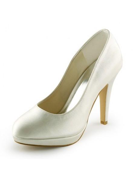 Mulheres Bonita Cetim Stiletto Heel Dedo do pé fechado Plataforma Marfim Casamento Sapatos
