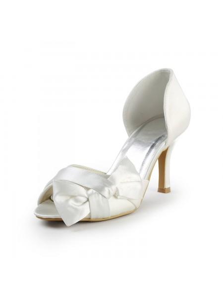 Mulheres Cetim Stiletto Heel Peep Toe com Laço Branco Casamento Sapatos