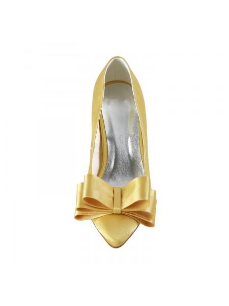 Mulheres Cetim Spool Heel Dedo do pé fechado Laço Gold Casamento Sapatos