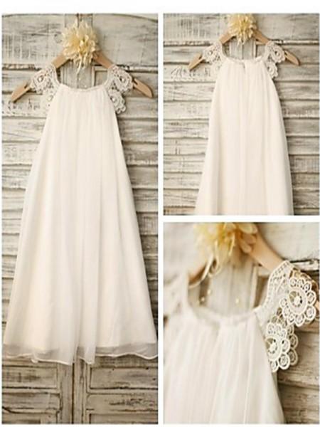 Princesa/Formato A Decote e costas em U Comprimento Médio Chiffon Vestidos Menina das Flores com Renda