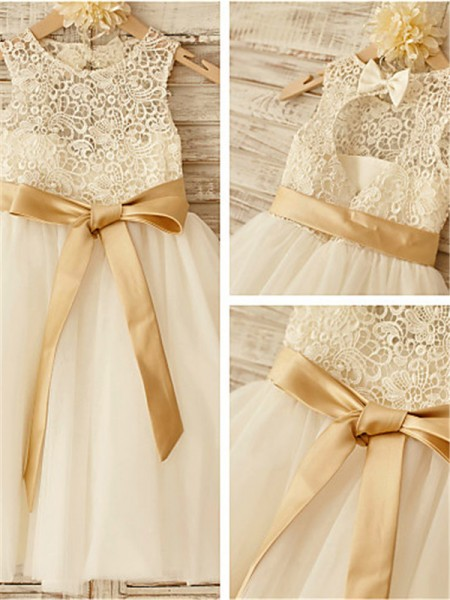 Princesa/Formato A Decote e costas em U Laço Comprimento do Joelho Tule Vestidos Menina das Flores