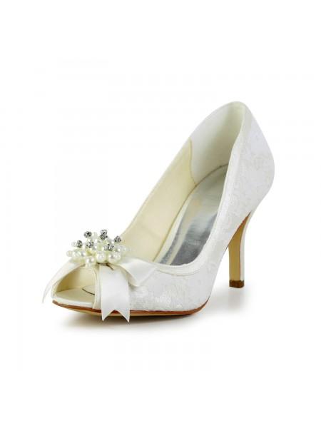 Mulheres Cetim Stiletto Heel Pumps com Imitation Pérola and Laço Marfim Casamento Sapatos