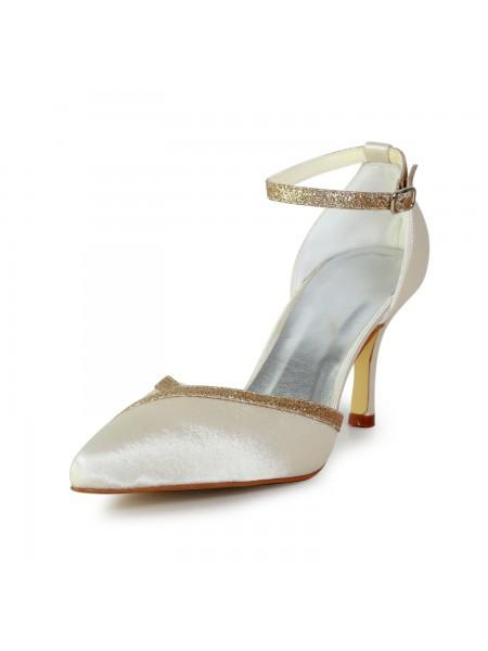 Mulheres Elegant Cetim Stiletto Heel com Sparkling Glitter Gold Casamento Sapatos