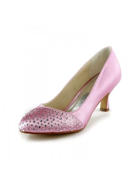 Mulheres Moda Cetim Stiletto Heel Dedo do pé fechado com Imitação de Diamante Rosa Casamento Sapatos