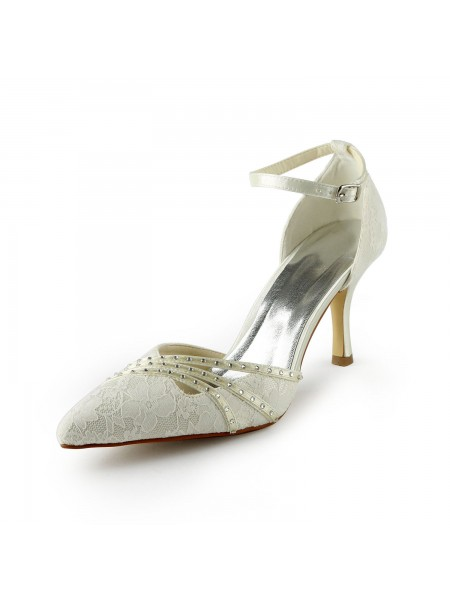 Mulheres Gauze Stiletto Heels Closed-toe Missangas Branco Casamento Sapatos