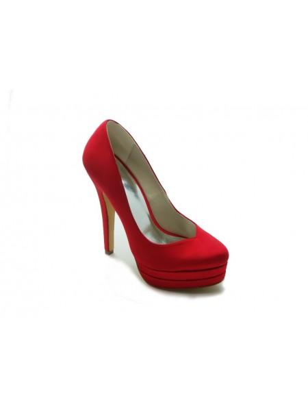 Mulheres Gorgeous Cetim Stiletto Heel High Heel Vermelho Casamento Sapatos
