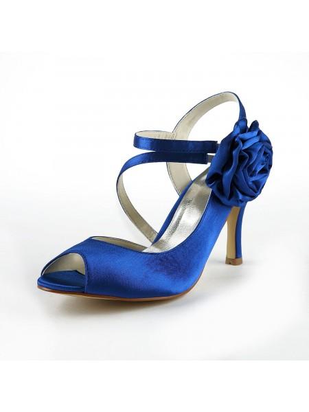 Mulheres Gorgeous Cetim Stiletto Heel Peep Toe com Flor Branco Casamento Sapatos