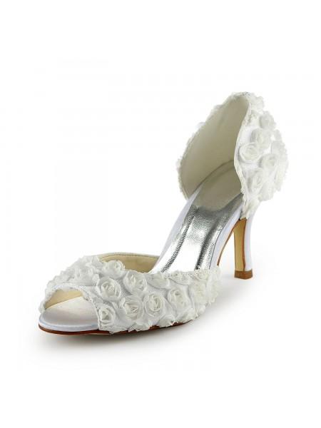 Mulheres Gorgeous Cetim Stiletto Heel Peep Toe com Flores Branco Casamento Sapatos