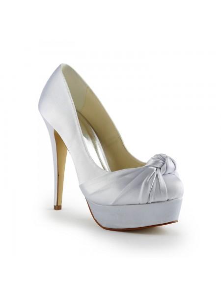 Mulheres Gorgeous Cetim Stiletto Heel Pumps com Drapeado Branco Casamento Sapatos