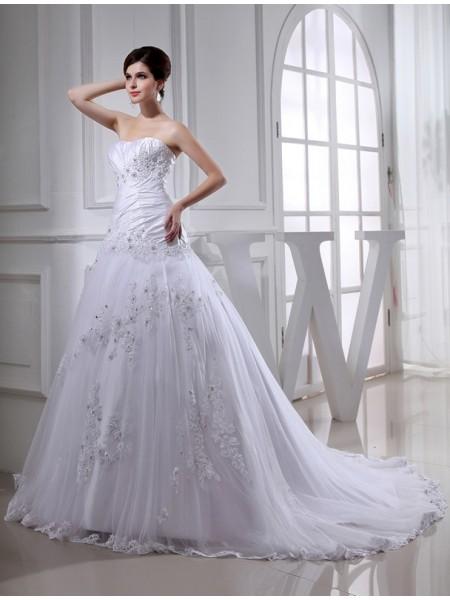 Princesa/Formato A Missangas Longa Sem Mangas Sem Alça Tule Tafetá Vestidos de Noiva