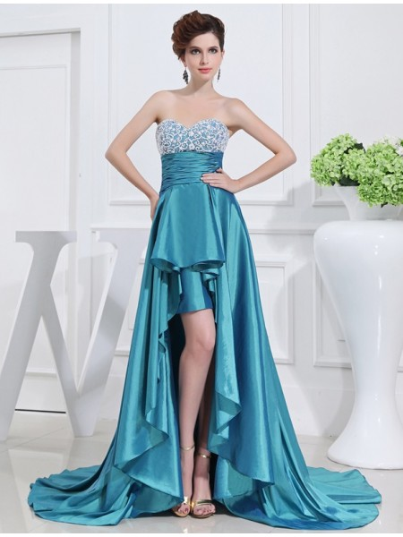 Princesa/Formato A Missangas Coração Alto-Baixo Sem Mangas Tafetá Vestidos