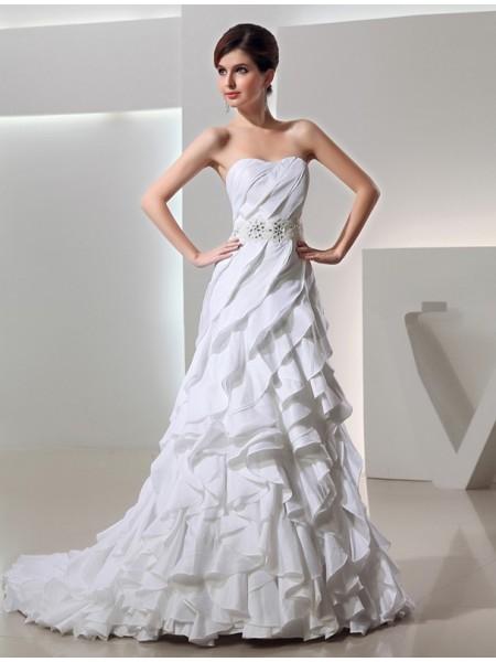 Missangas Princesa/Formato A Longa Coração Sem Mangas Tafetá Vestidos de Noiva