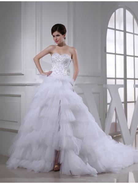 Princesa/Formato A Missangas Coração Sem Mangas Cetim Vestidos de Noiva