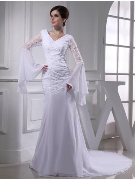 Trompete/Sereia Missangas Decote em V Chiffon Longa Vestidos de Noiva