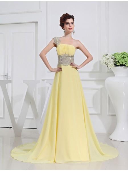 Princesa/Formato A Um Ombro Missangas Appliquess Chiffon Vestidos