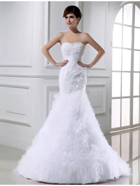 Trompete/Sereia Missangas Sem Mangas Tule Longa Vestidos de Noiva