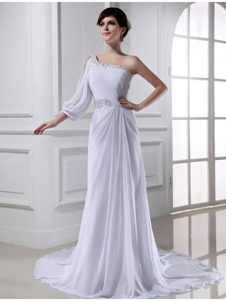 Princesa/Formato A Missangas Um Ombro One-sleeve Chiffon Vestidos de Noiva