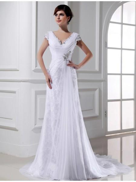 Princesa/Formato A Missangas Decote em V Longa Sem Mangas Tule Vestidos de Noiva