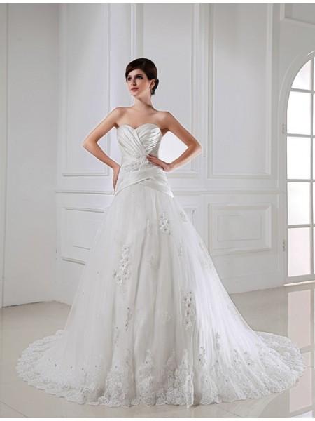 Princesa/Formato A Missangas Appliques Coração Sem Mangas Cetim Tule Vestidos de Noiva