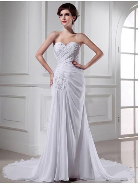 Trompete/Sereia Missangas Coração Sem Mangas Chiffon Longa Vestidos de Noiva