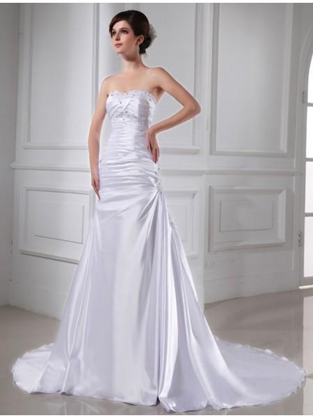 Princesa/Formato A Missangas Appliques Sem Mangas Cetim Esticado Vestidos de Noiva
