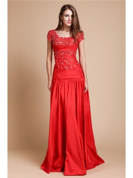 Princesa/Formato A Decote e costas em U Longa Missangas Curtos Sleeve Tafetá Vestidos