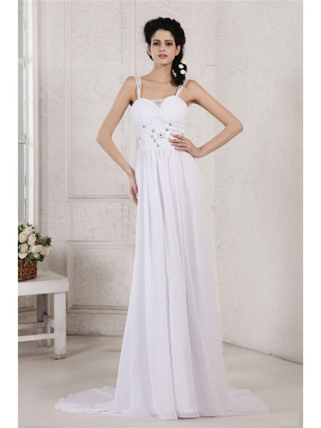 Bainha/Coluna Spaghetti Strap Plissada Drapeado Missangas Appliques Longa Chiffon Vestidos de Noiva