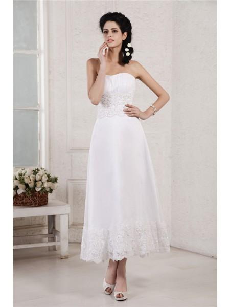 Princesa/Formato A Sem Alça Sem Mangas Plissada Appliques Missangas Curtos Chiffon Vestidos de Noiva